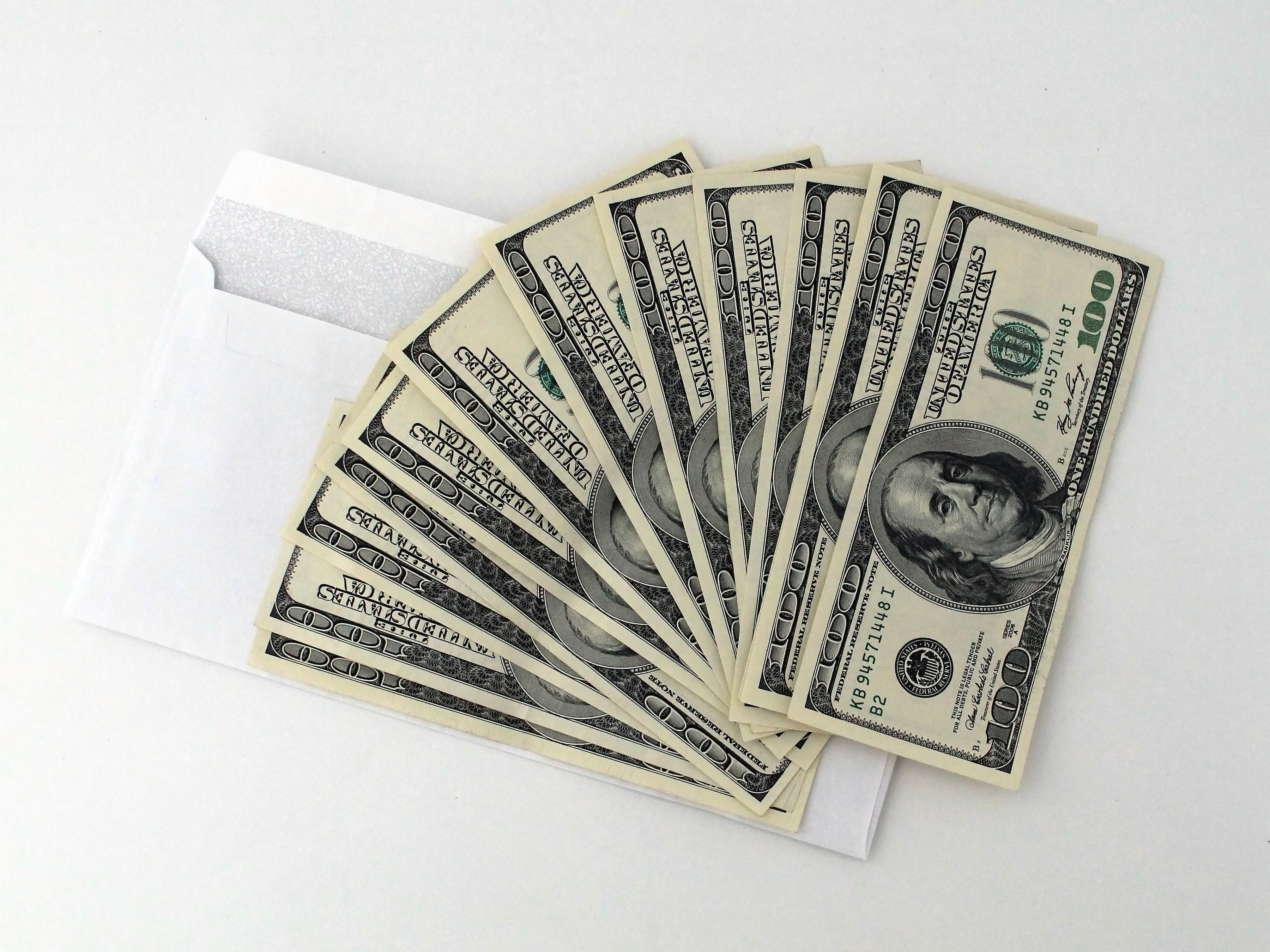 An array of $100 bills