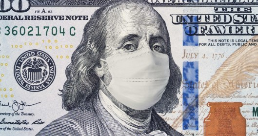 Coronavirus image of one hundred dollar bill