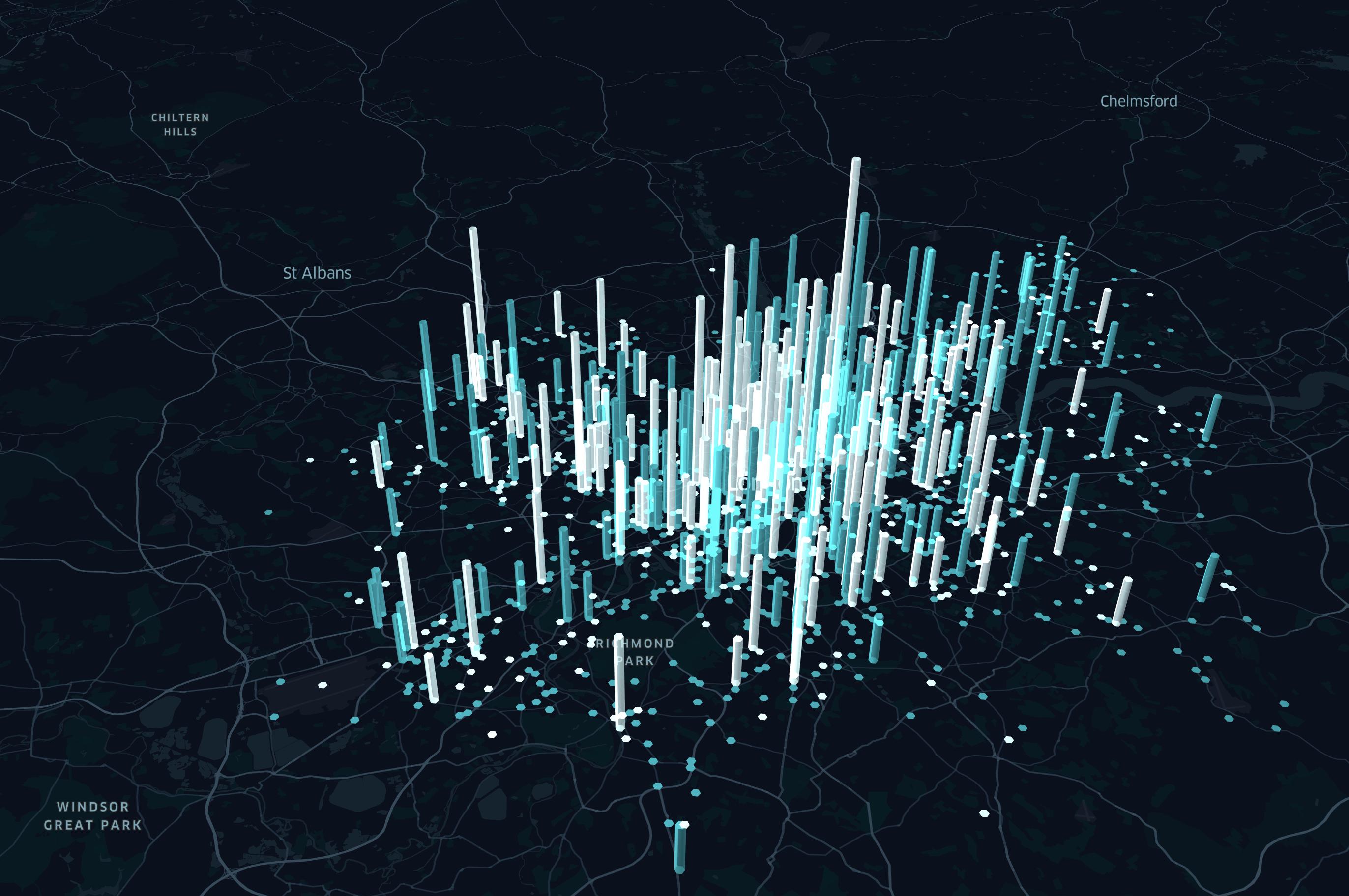 Landschaftskarte mit 3D Datensäulen