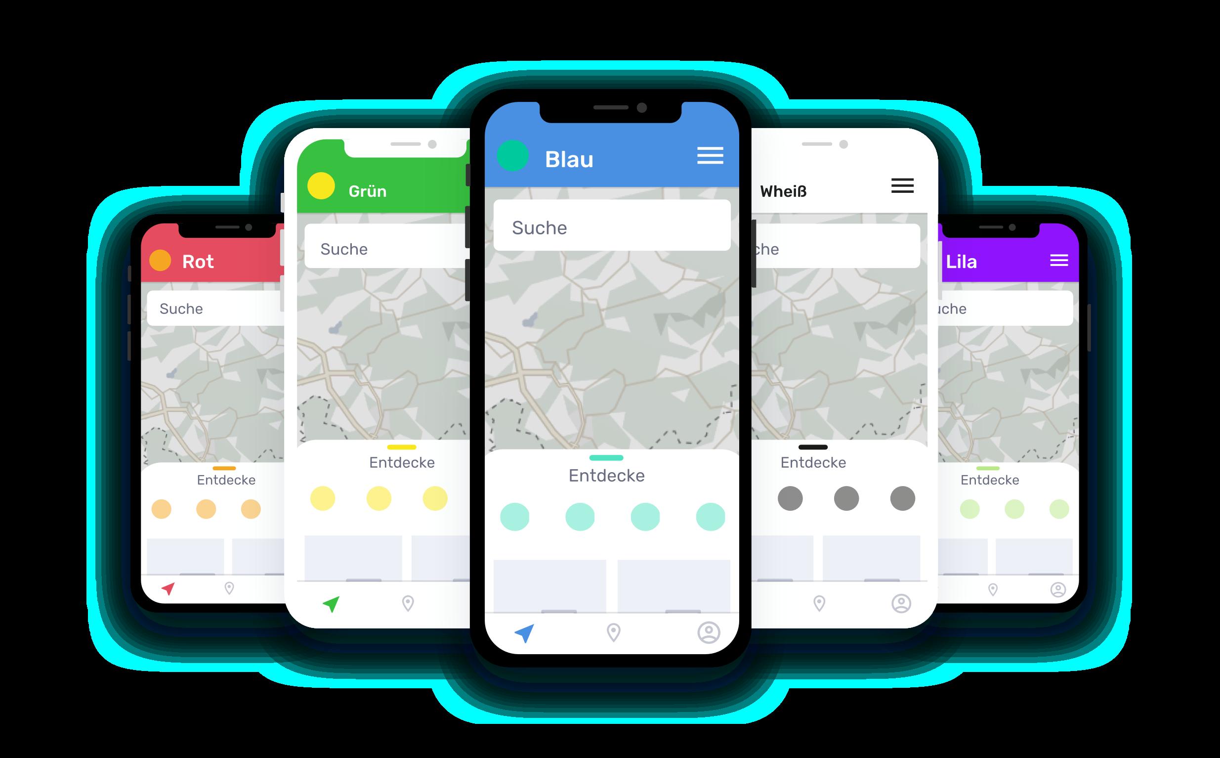 5 Smartphones, die eine App zeigen