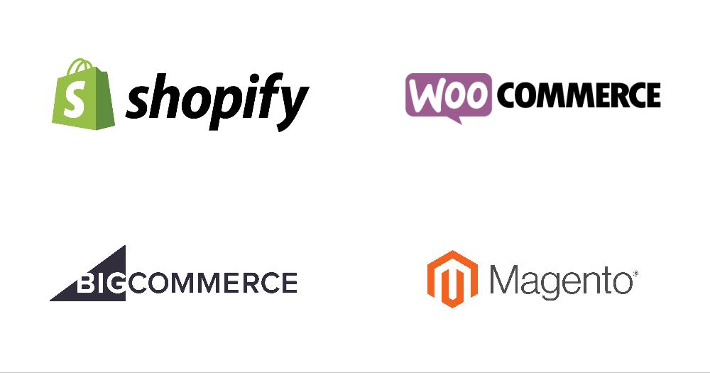 Ecommerce software logos - shopify, woocommerce, bigcommerce, magento