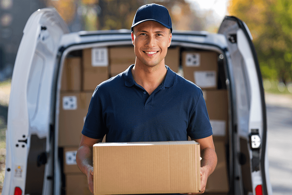 Man distributing or delivering products