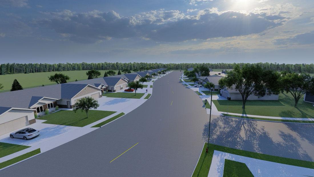 aerial south view of neighborhood