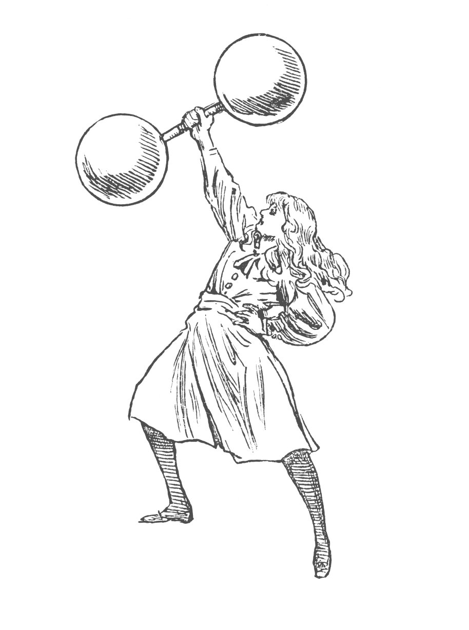 Illustration of a woman holding a dumbbell