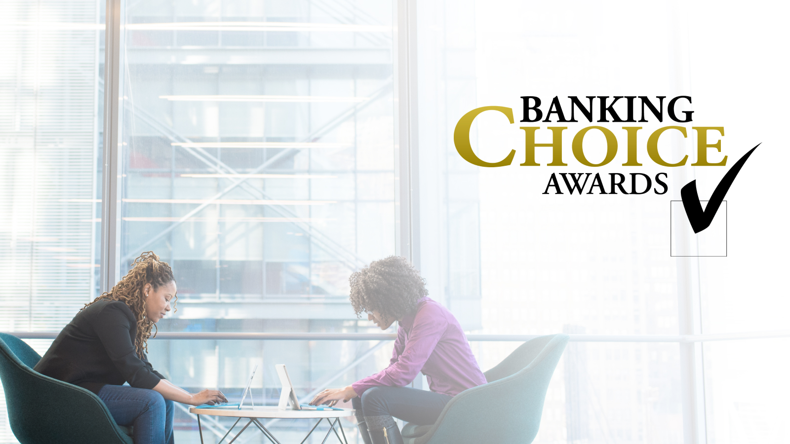 Banking Choice logo above two women deliberating over computers