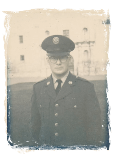Black & white Image of Ted Kennedy in his service uniform.