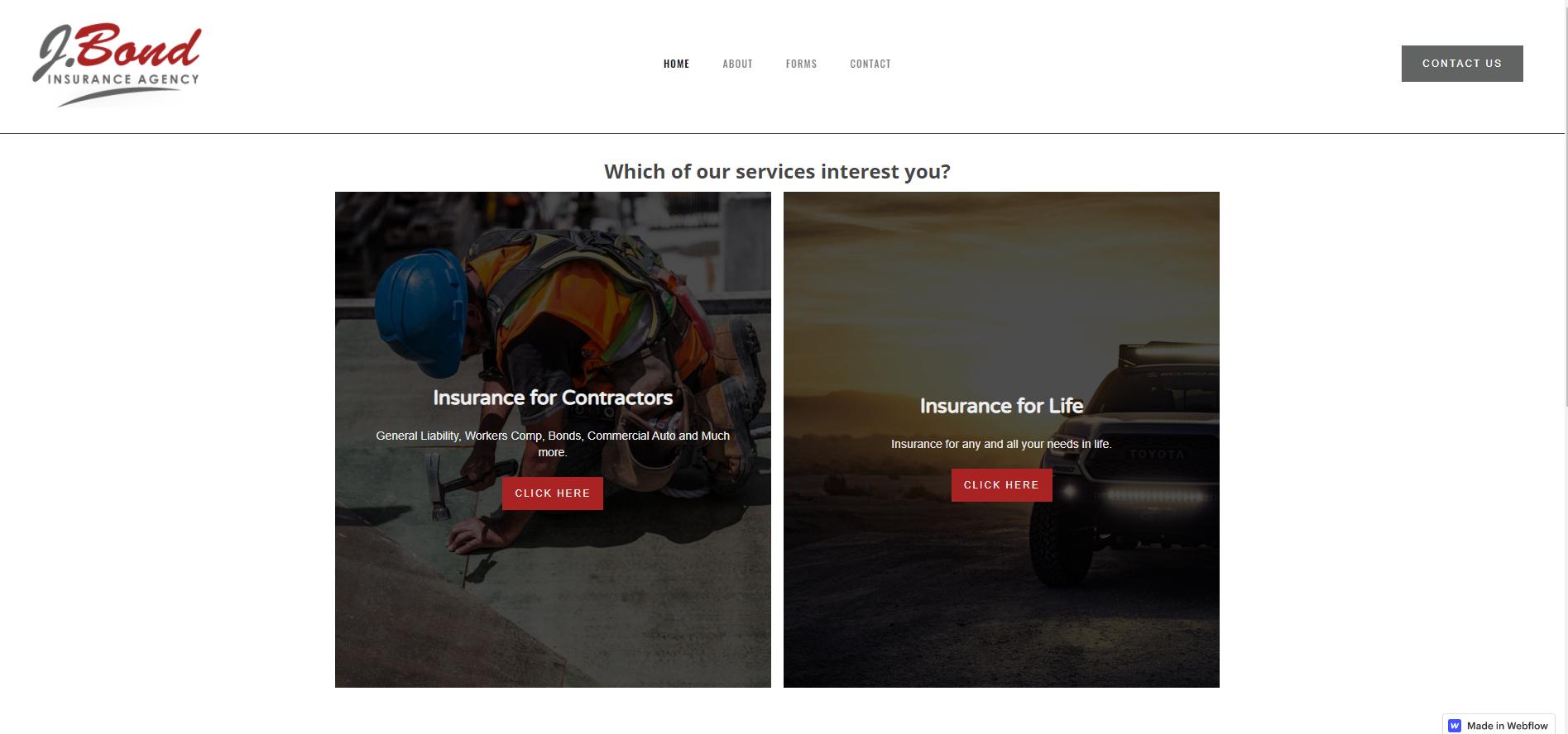 J bond insurance project screenshot