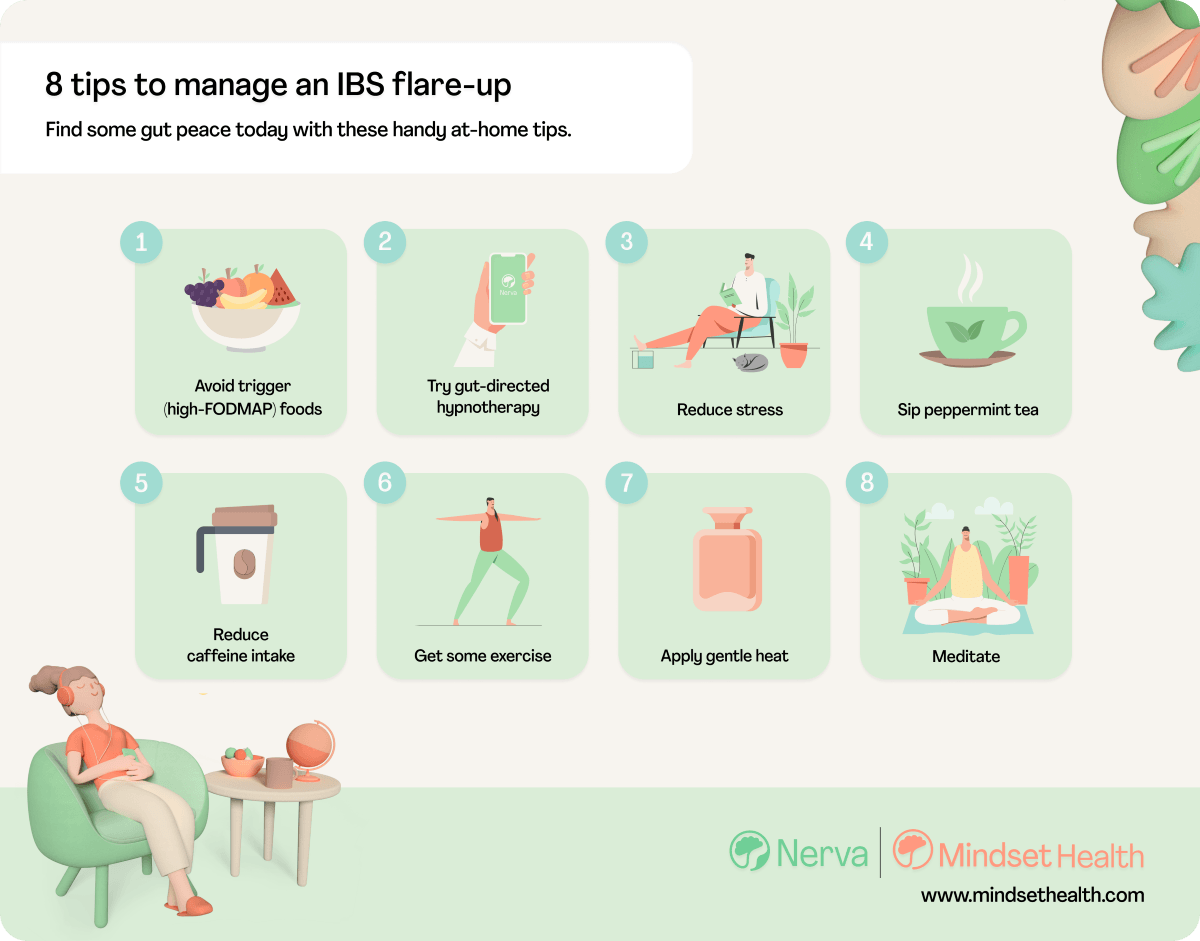 Infographic showing 8 tips to calm an IBS flare-up