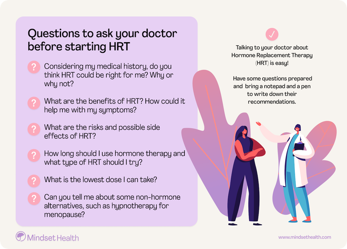 Questions to ask your doctor before starting HRT