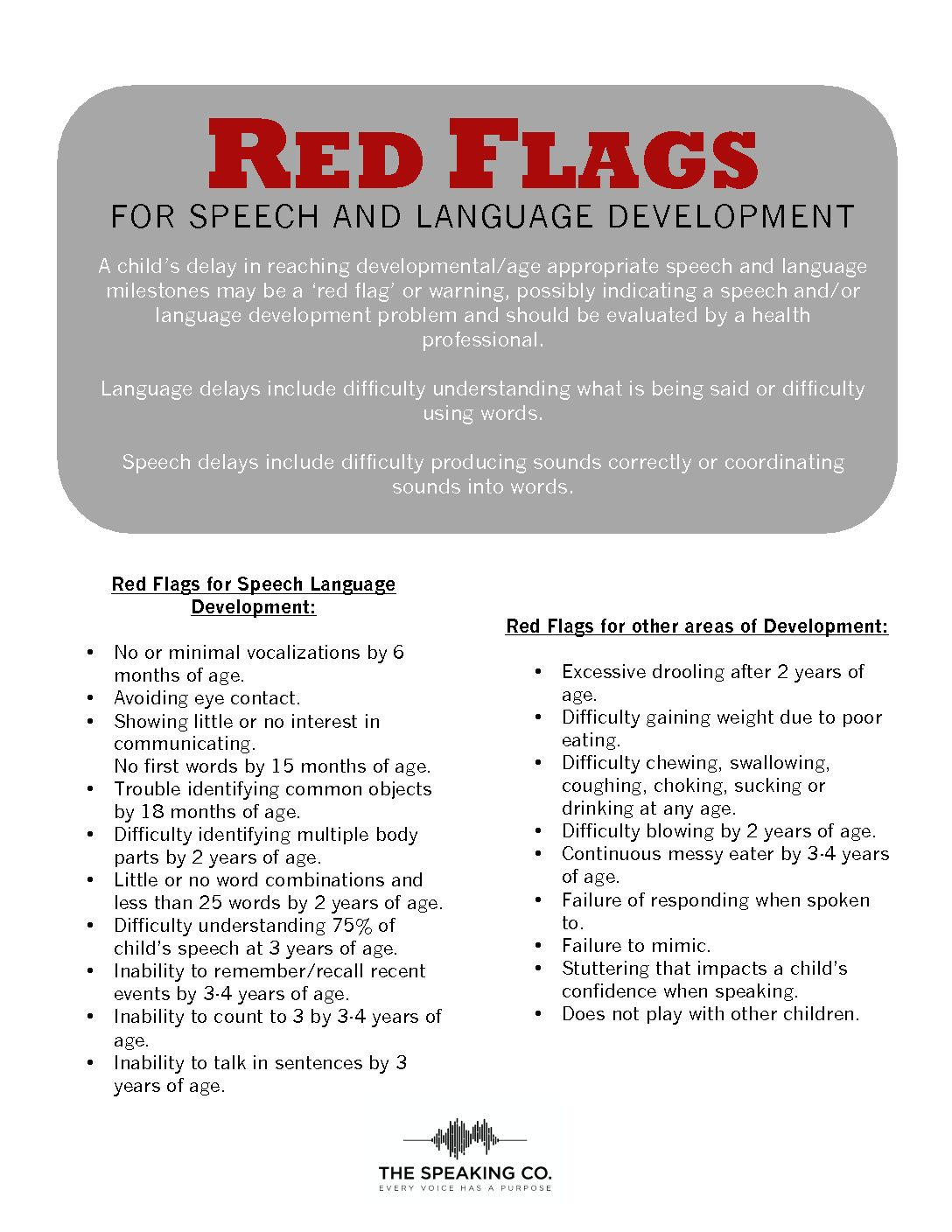 Red Flags for Speech & Language Development guide