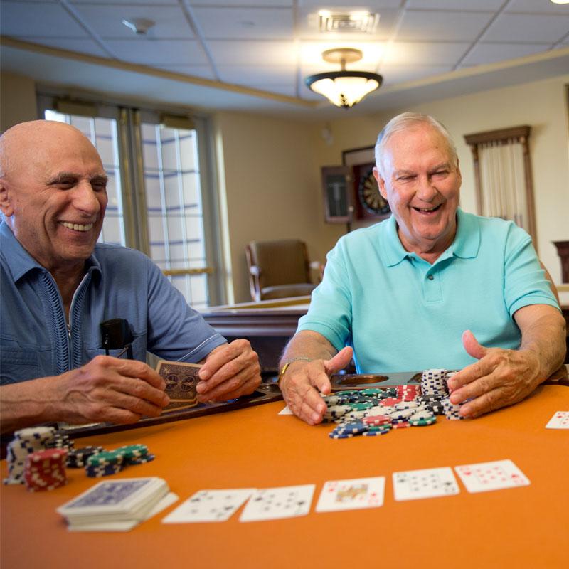 Montereau Resident Retirement Community Seniors Playing Poker