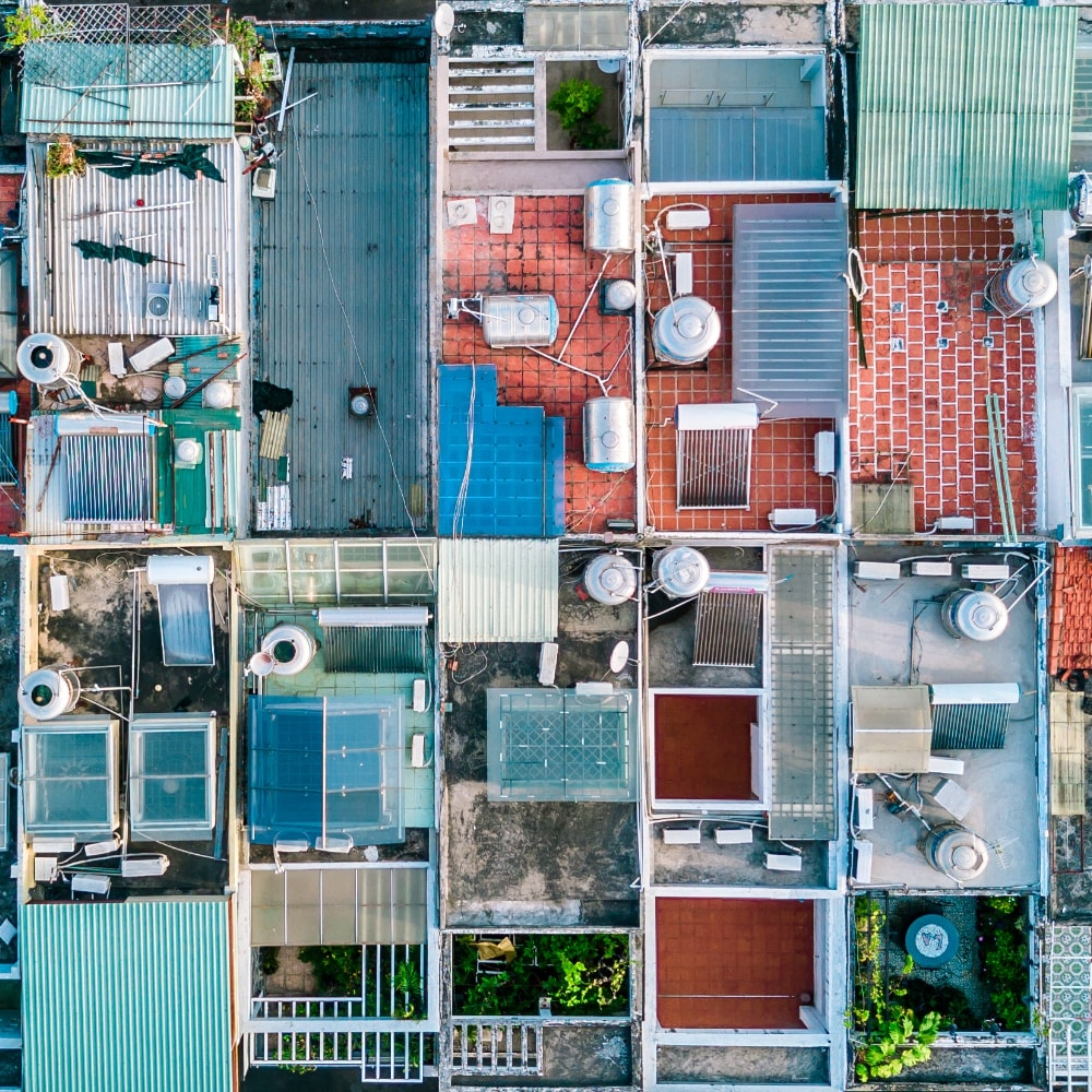 birds eye view of corrugated roofs