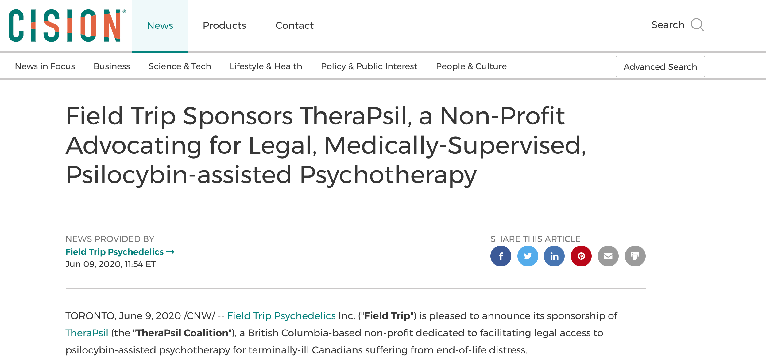 Field Trip Sponsors TheraPsil, a Non-Profit Advocating for Legal, Medically-Supervised, Psilocybin-assisted Psychotherapy