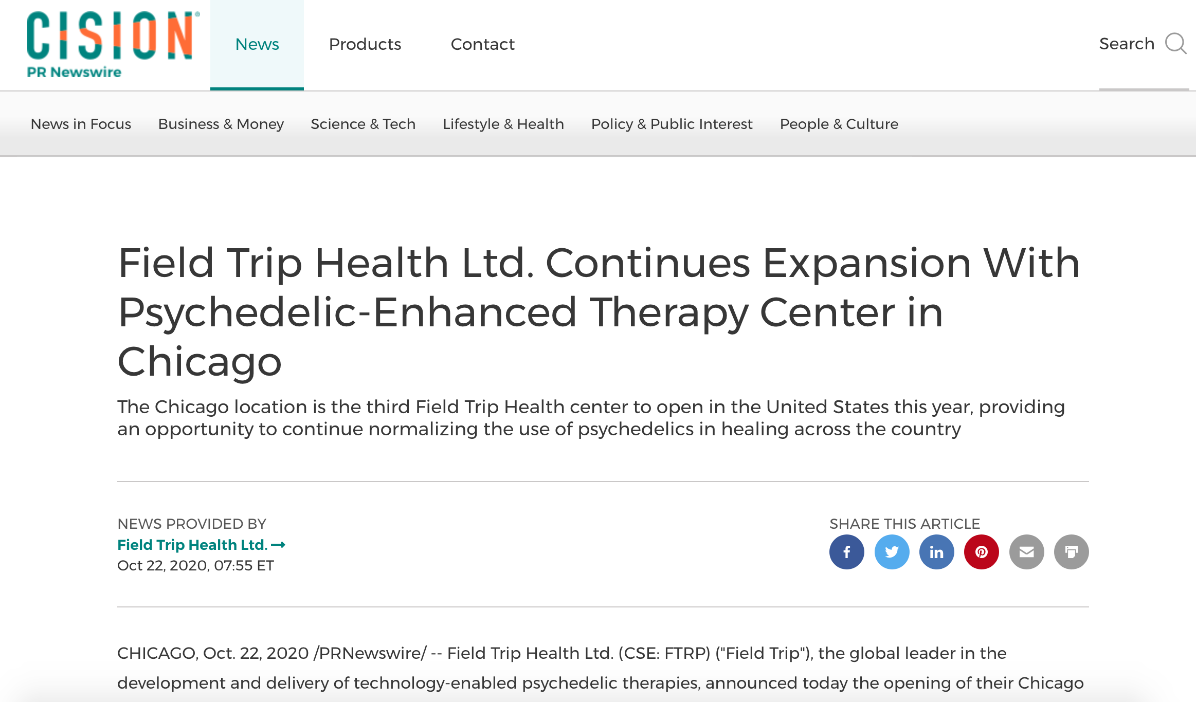 Field Trip Health Ltd. Continues Expansion With Psychedelic-Enhanced Therapy Center in Chicago