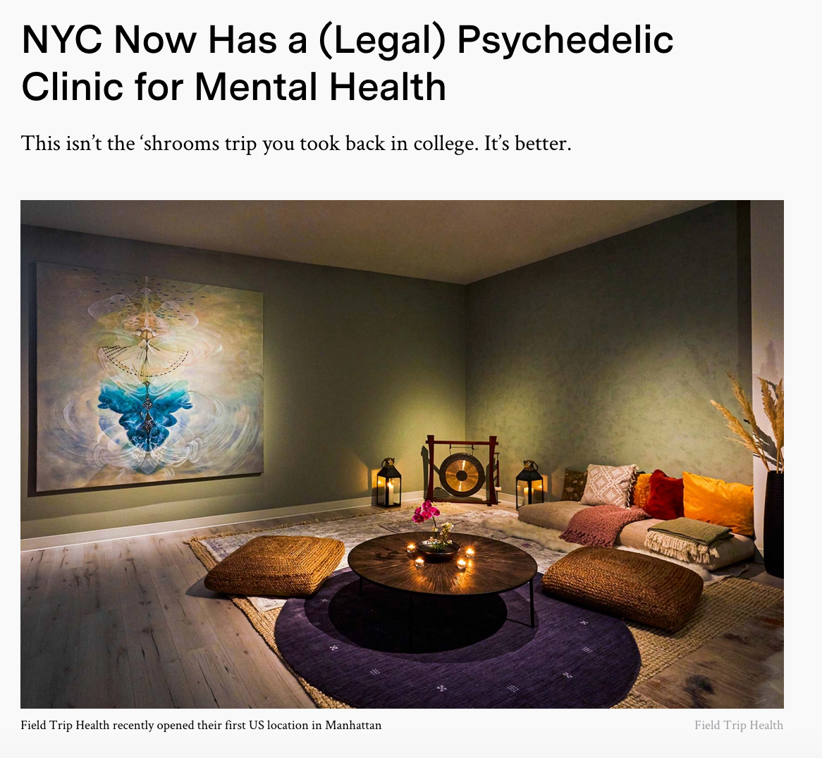 NYC Now Has a (Legal) Psychedelic Clinic for Mental Health