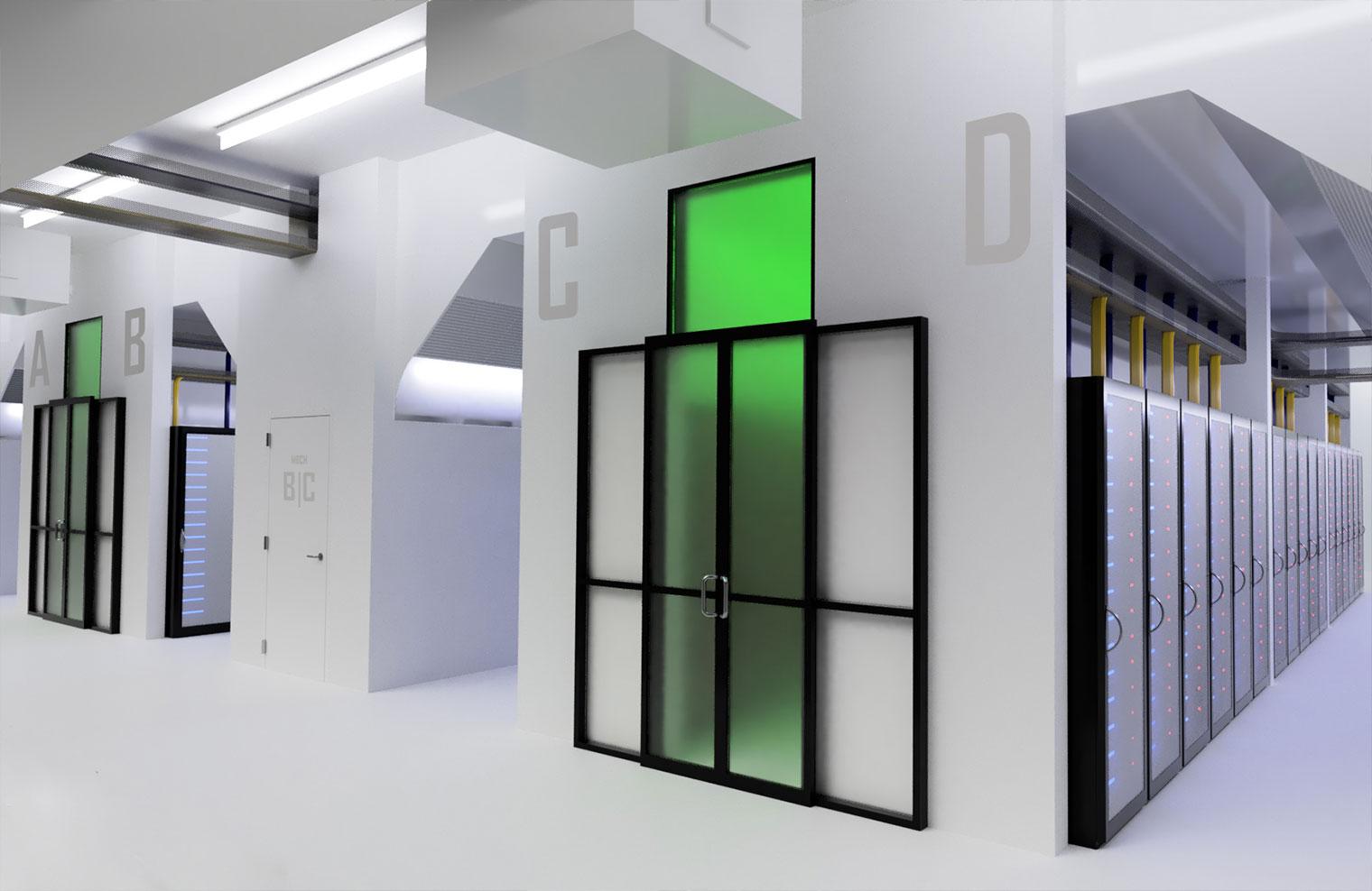 Interior view of Edged modular data center pods