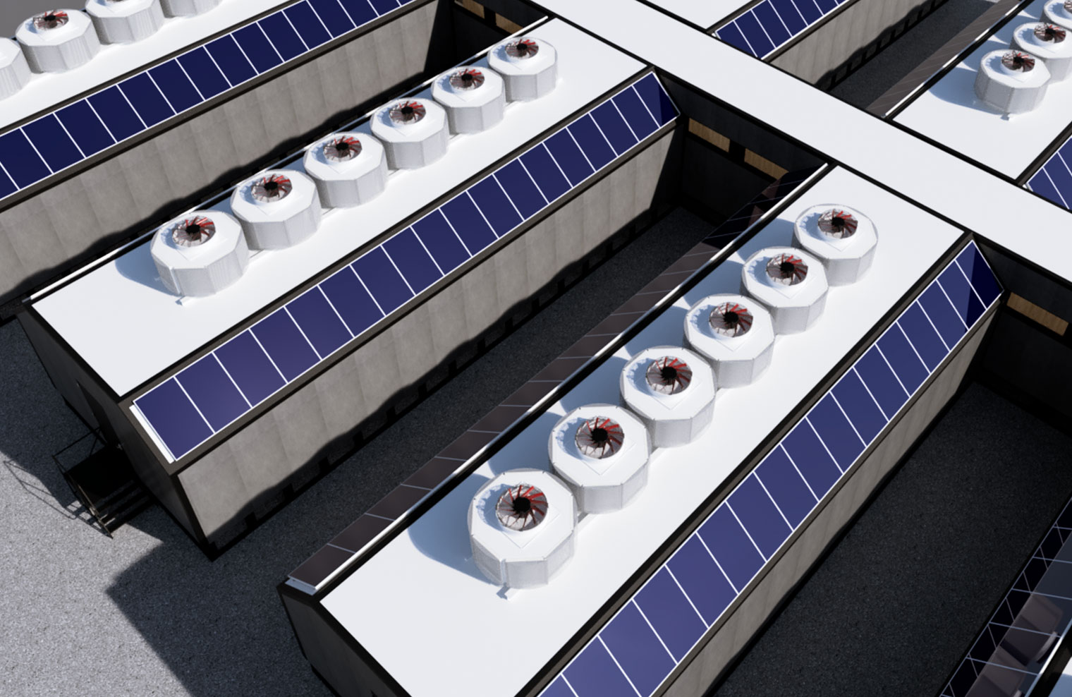 Edged rapid deployment modular data center pods, showing zero-water cooling units and integrated solar panels