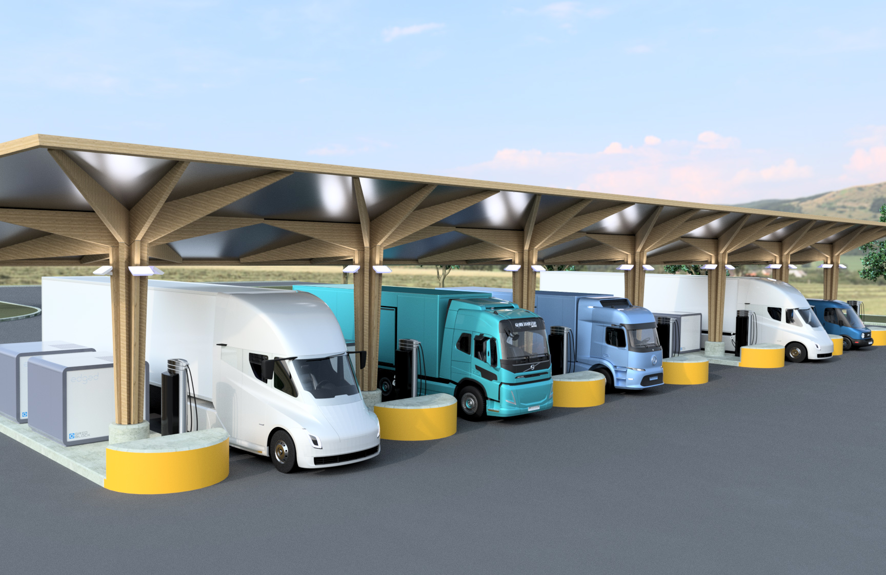 Truck charging island with solar canopy