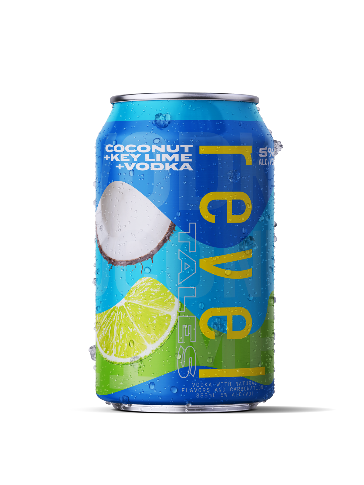 Revel Tales Florida Craft Canned Cocktails. Coconut+Key Lime+Vodka Can.