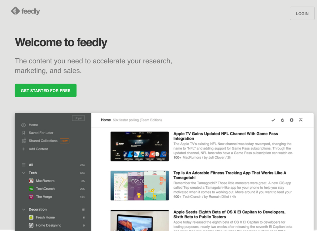 The homepage of Feedly