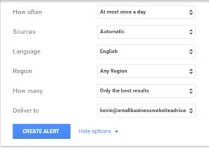 Set up google alert step 3