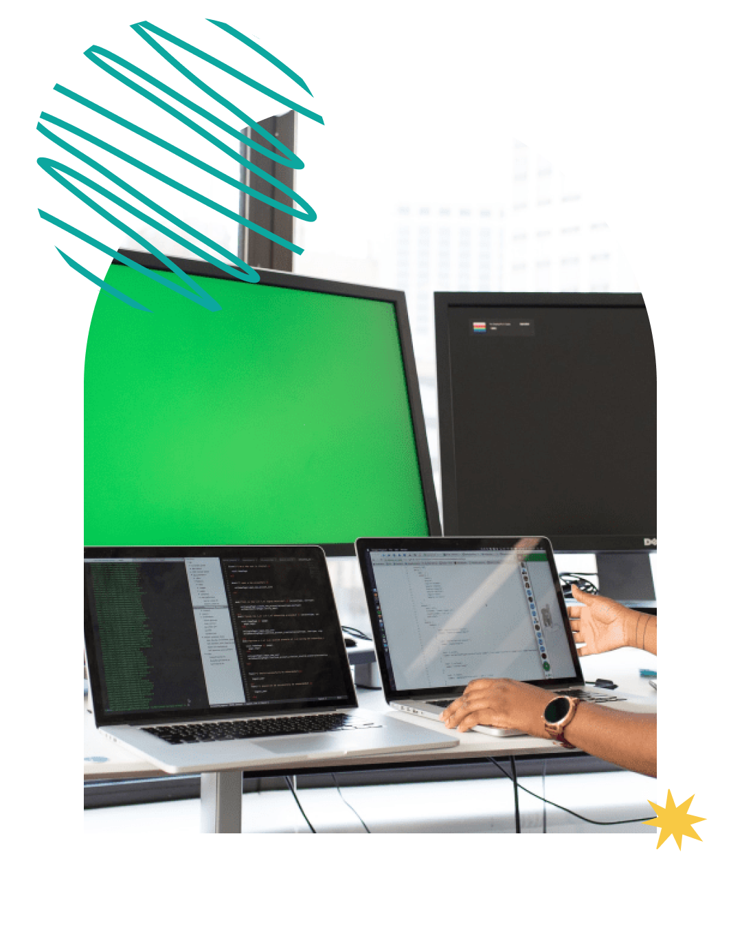 A web developer at her desk working