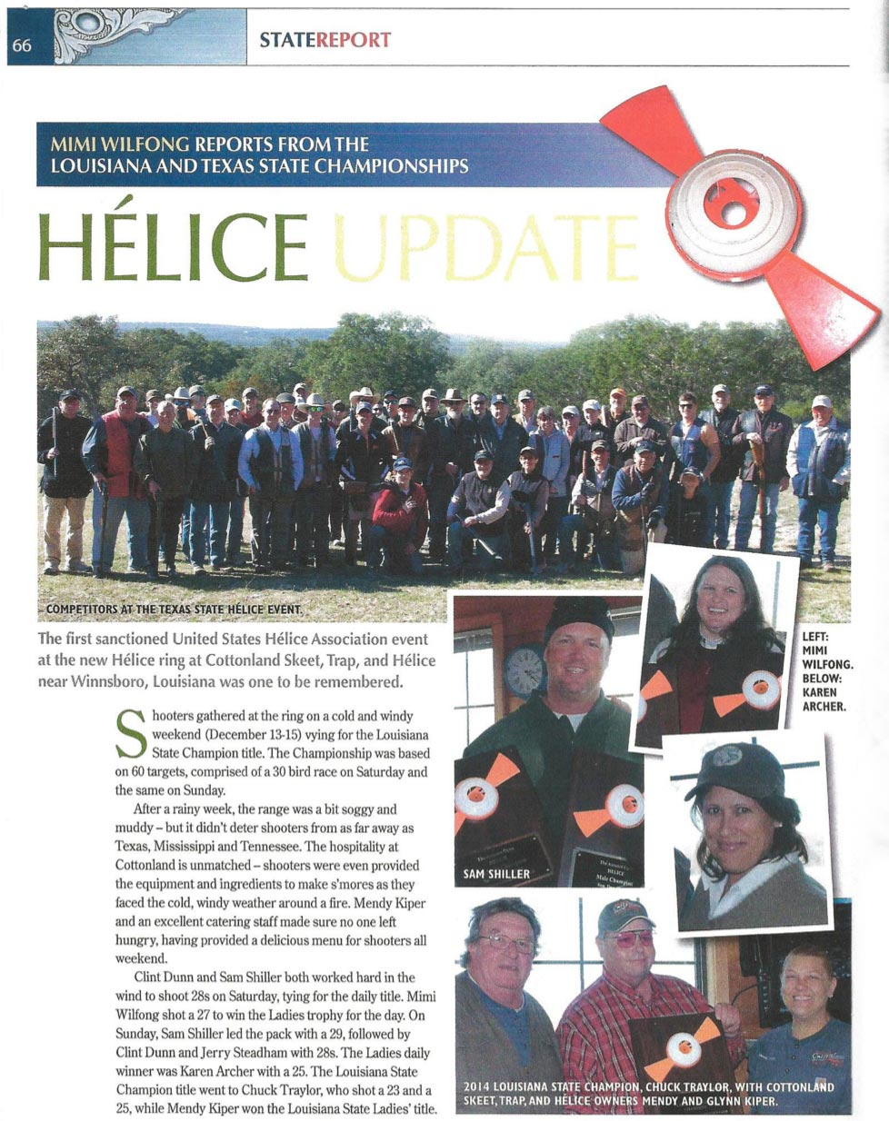 Helice Tournament Update by: Mimi Wilfong