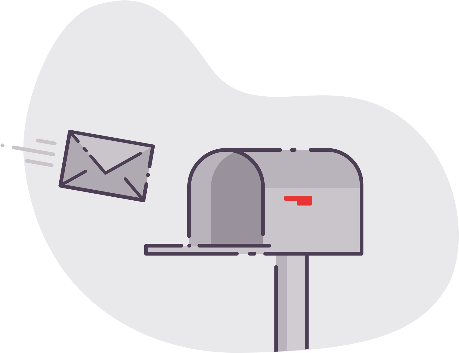 Illustration of a letter flying into an open mailbox