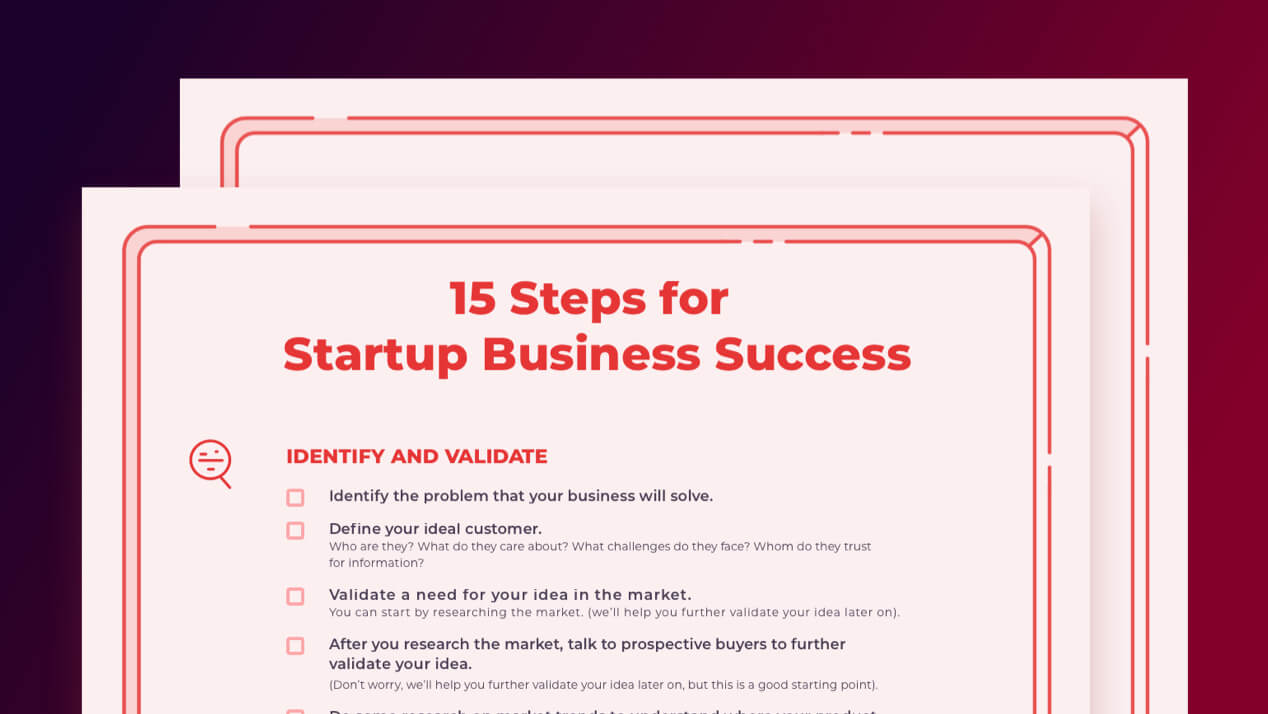 Preview of PDF showing checklist for creating a startup product.