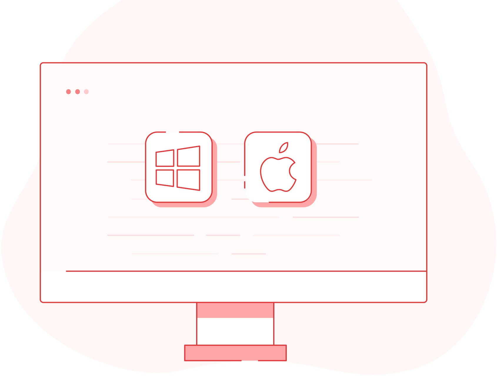 Illustration of a computer with the Windows and Apple logo