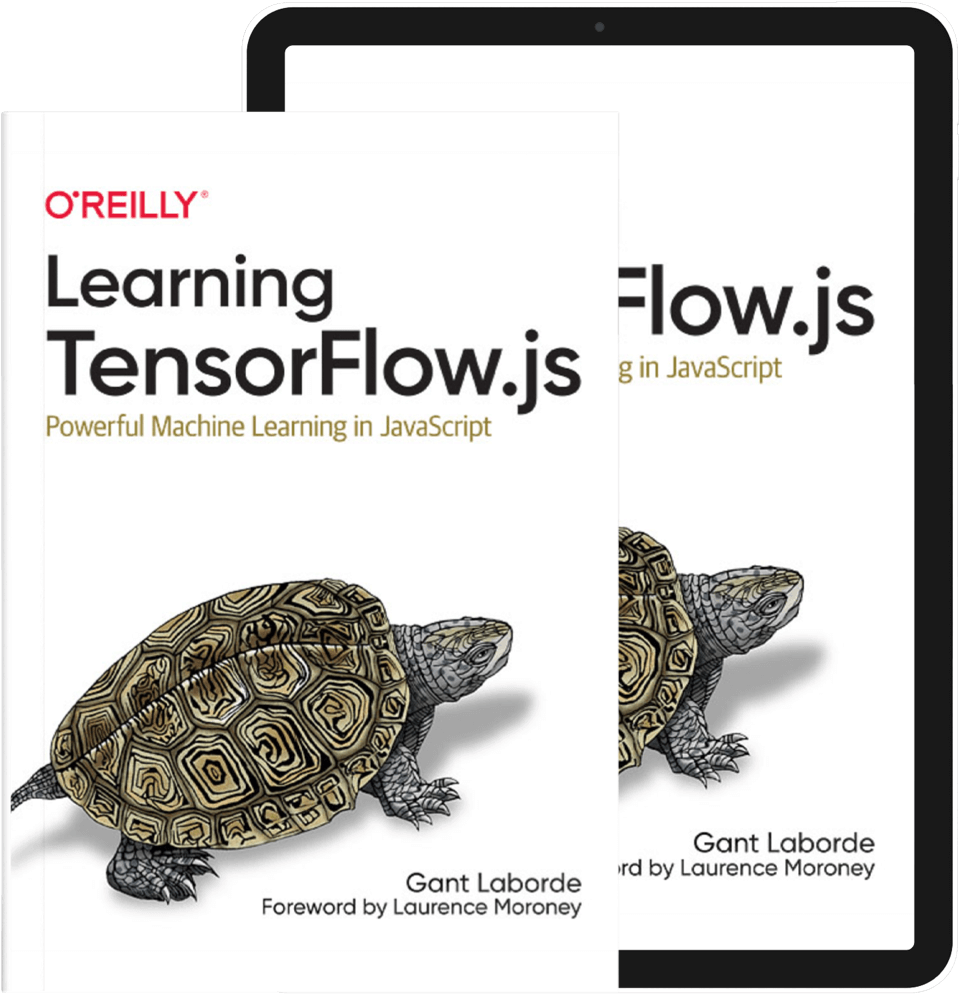 Mockup of Learn TensorFlow.js in book and ebook formats