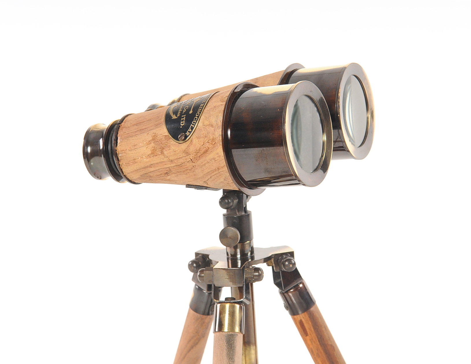 Wooden/Brass Binocular On Stand