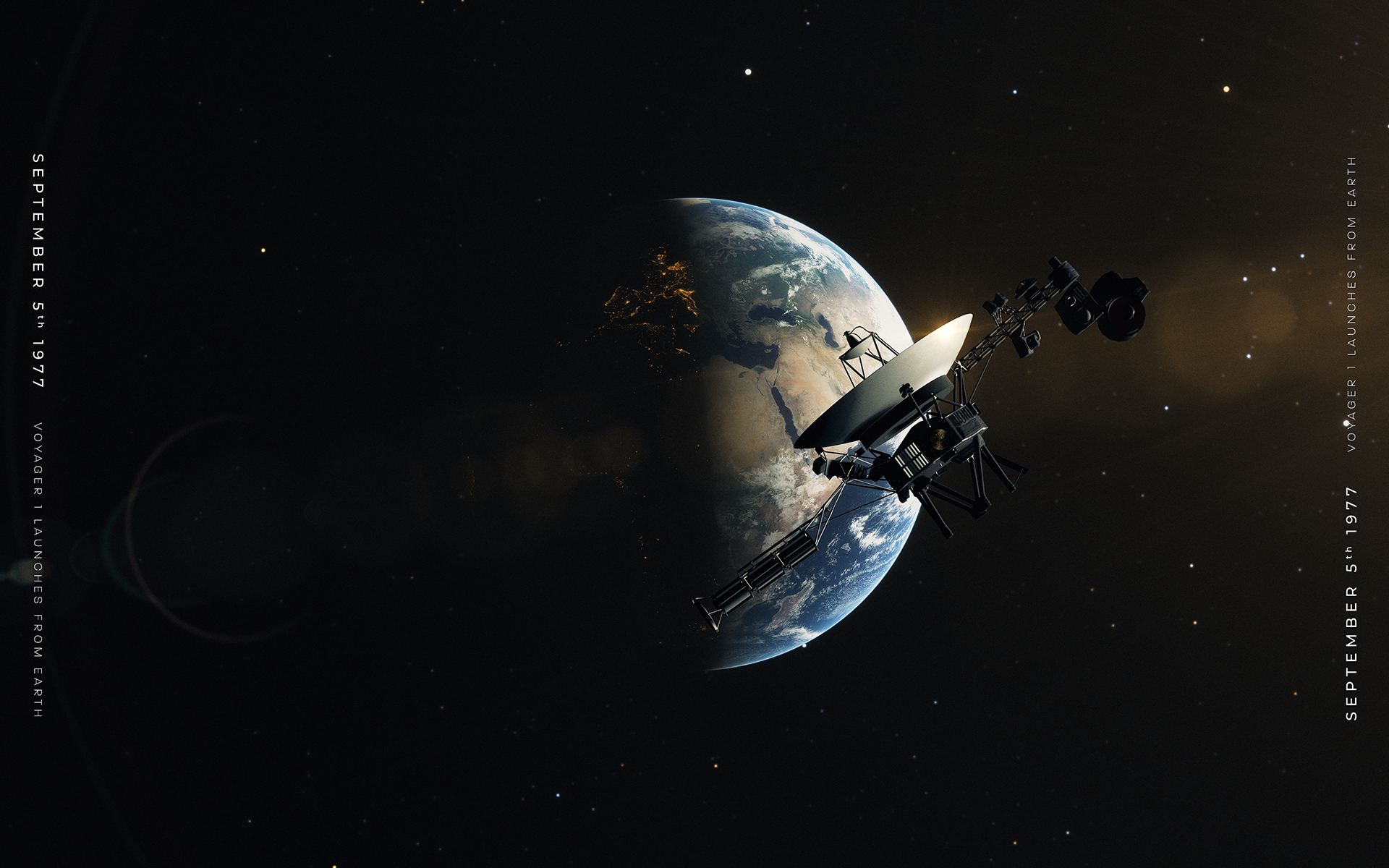 Voyager 1 - Launching from Earth (Canvas)