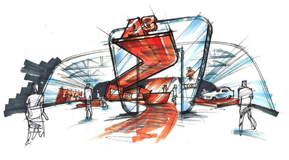 Sketch of a tradeshow experience design concept.