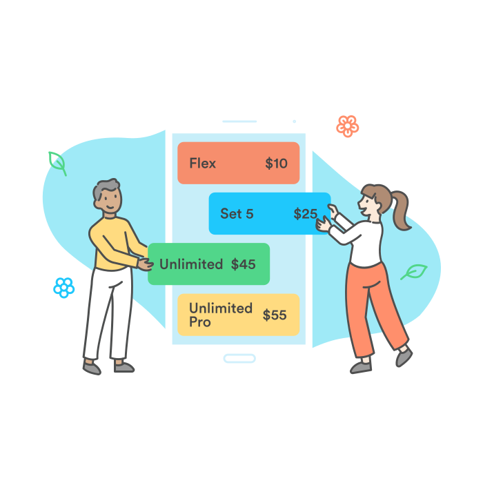 two people selecting plans