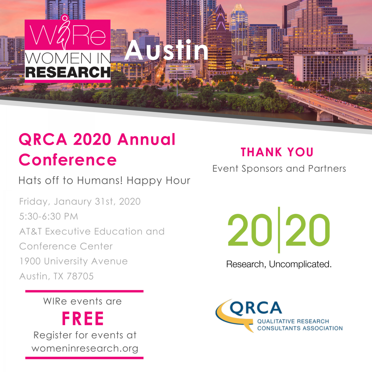 WIRe + QRCA Happy Hour at QRCA 2020 Annual Conference: Hats off to Humans!