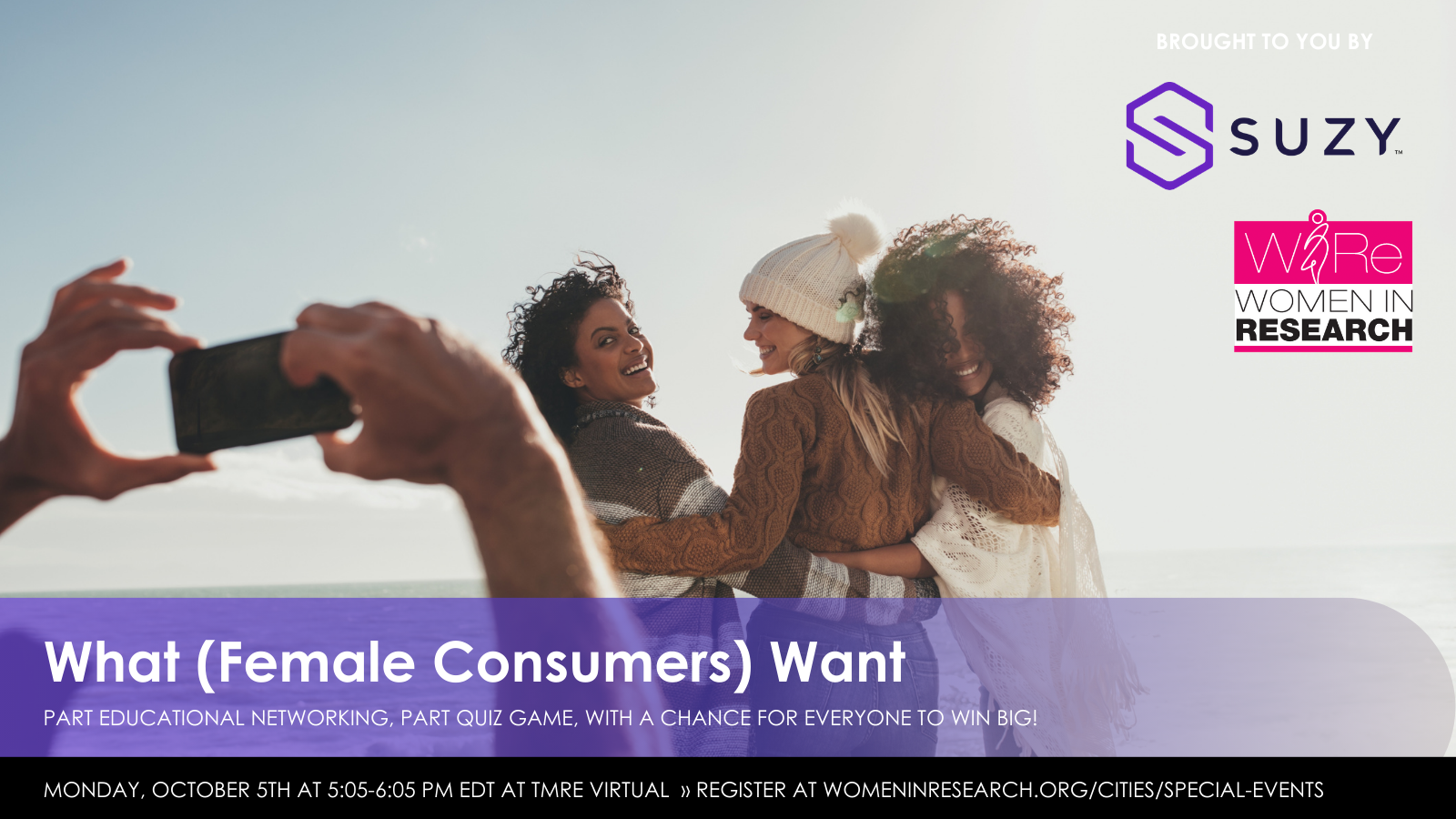 "TMRE Virtual: Suzy and WIRe Present ""What (Female Consumers) Want"" — Networking Quiz Game Happy Hour with PRIZES!"