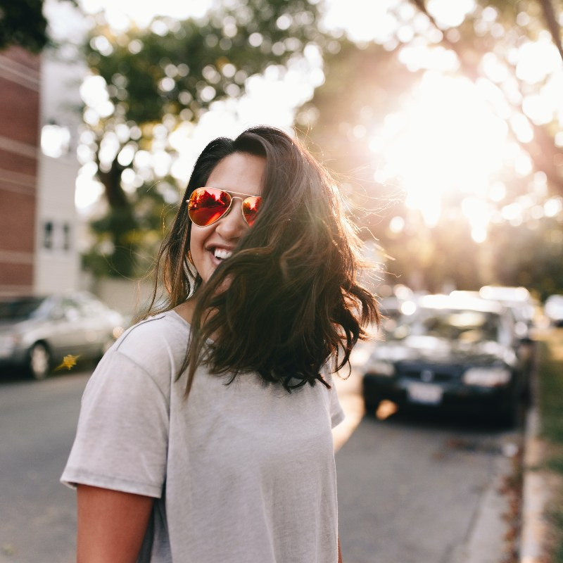woman wearing sunglasses outside