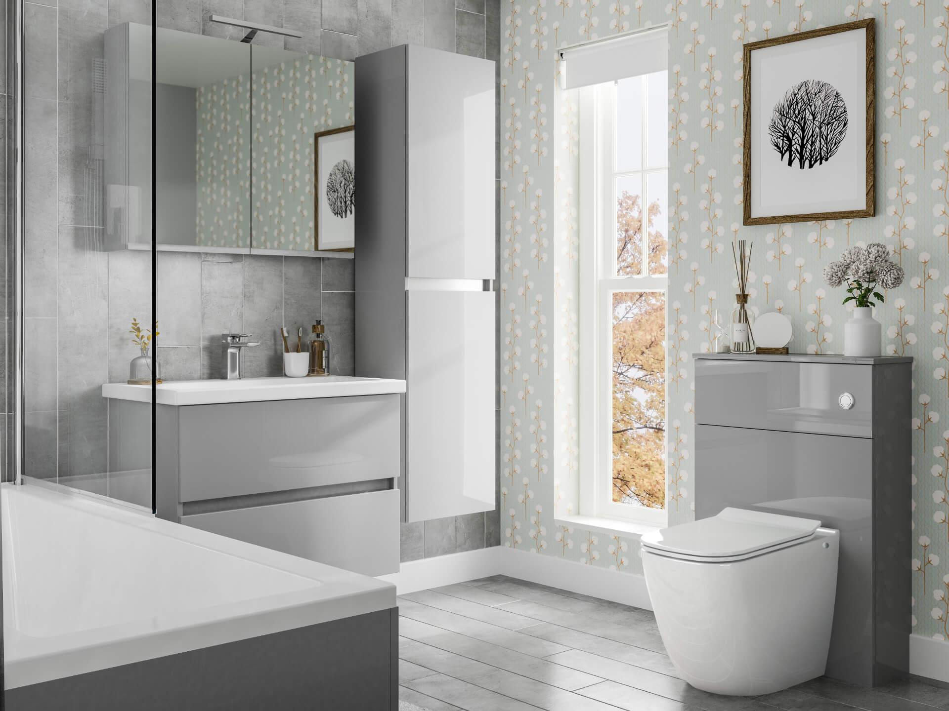 Utopia Bathroom Qube Grey Bathroom