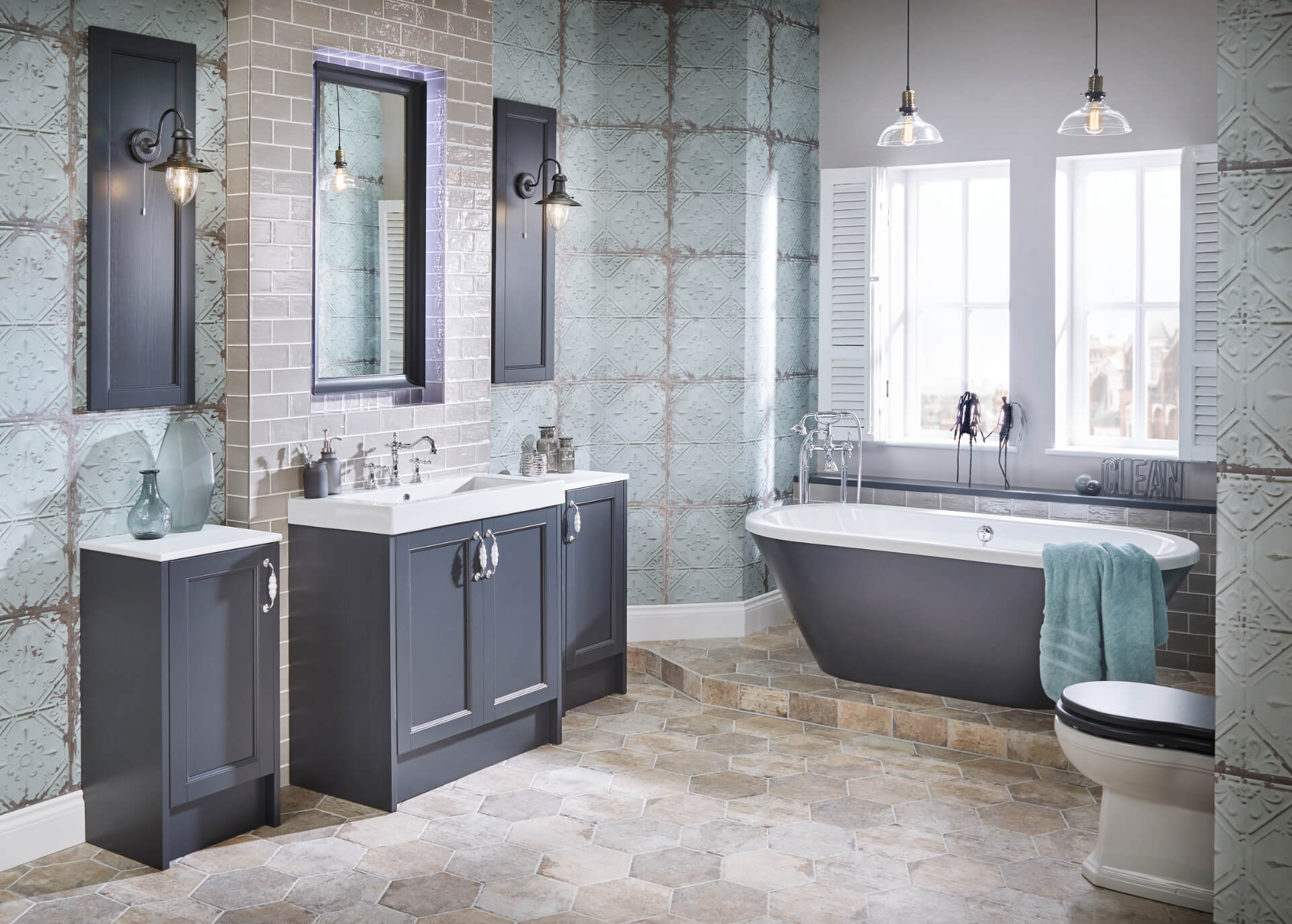 Utopia Bathroom Qube Blue Bathroom