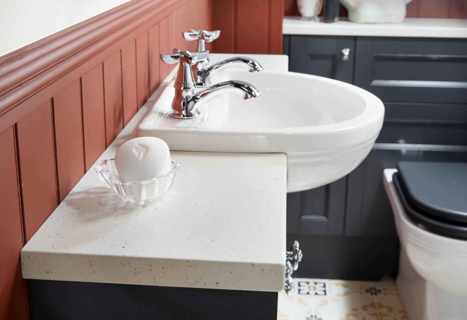 Utopia Bathroom Qube Blue Sink Unit