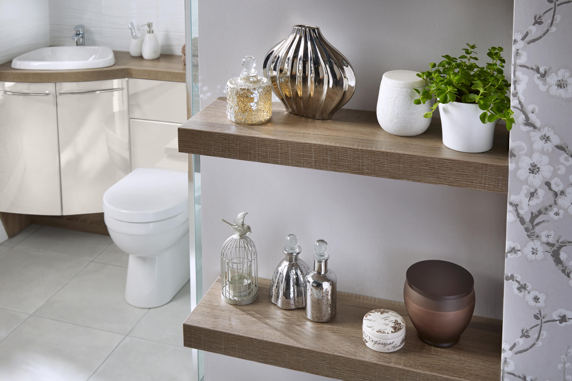 Utopia Bathroom Symmetry Wooden Shevles