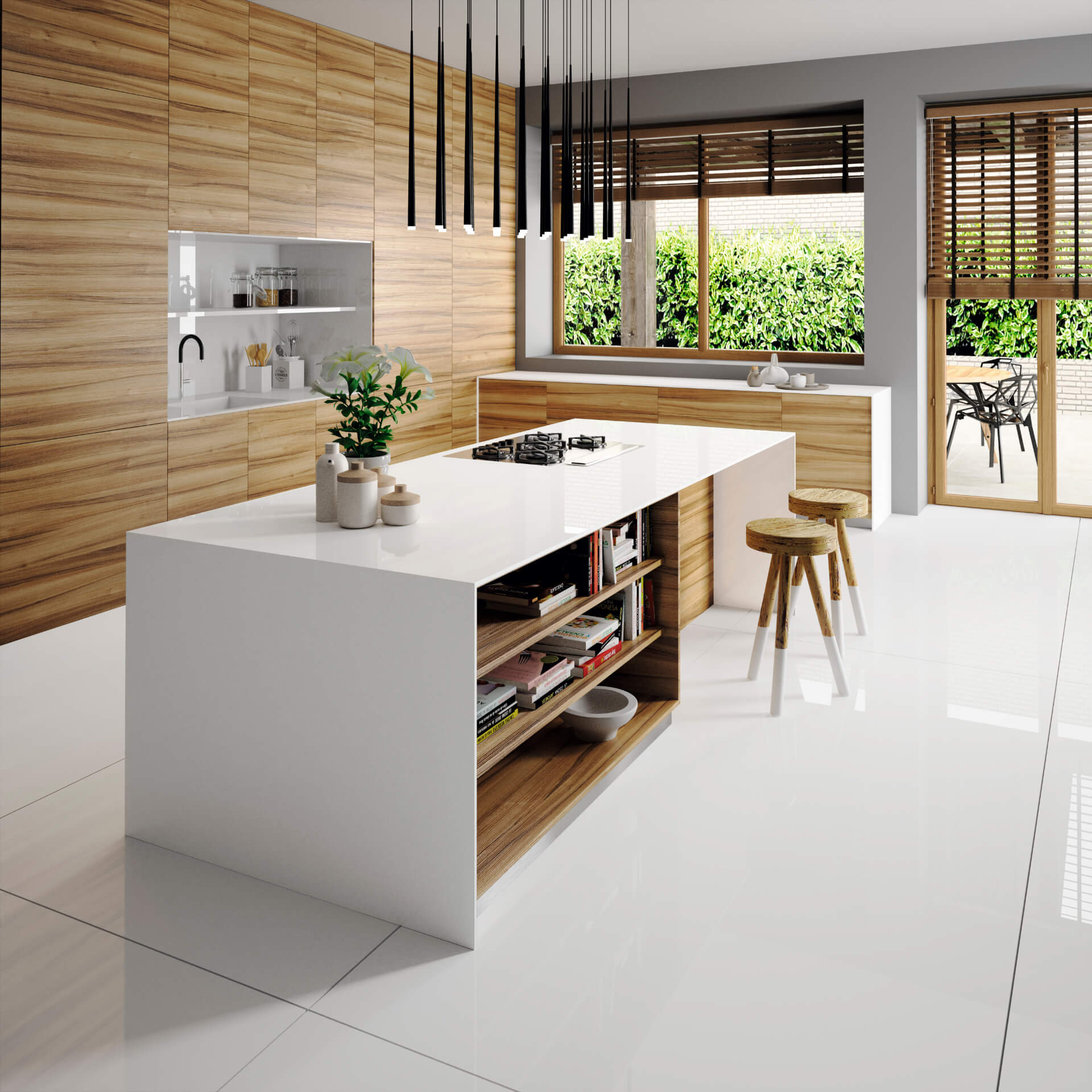 Cosentino Silestone White Wooden Kitchen