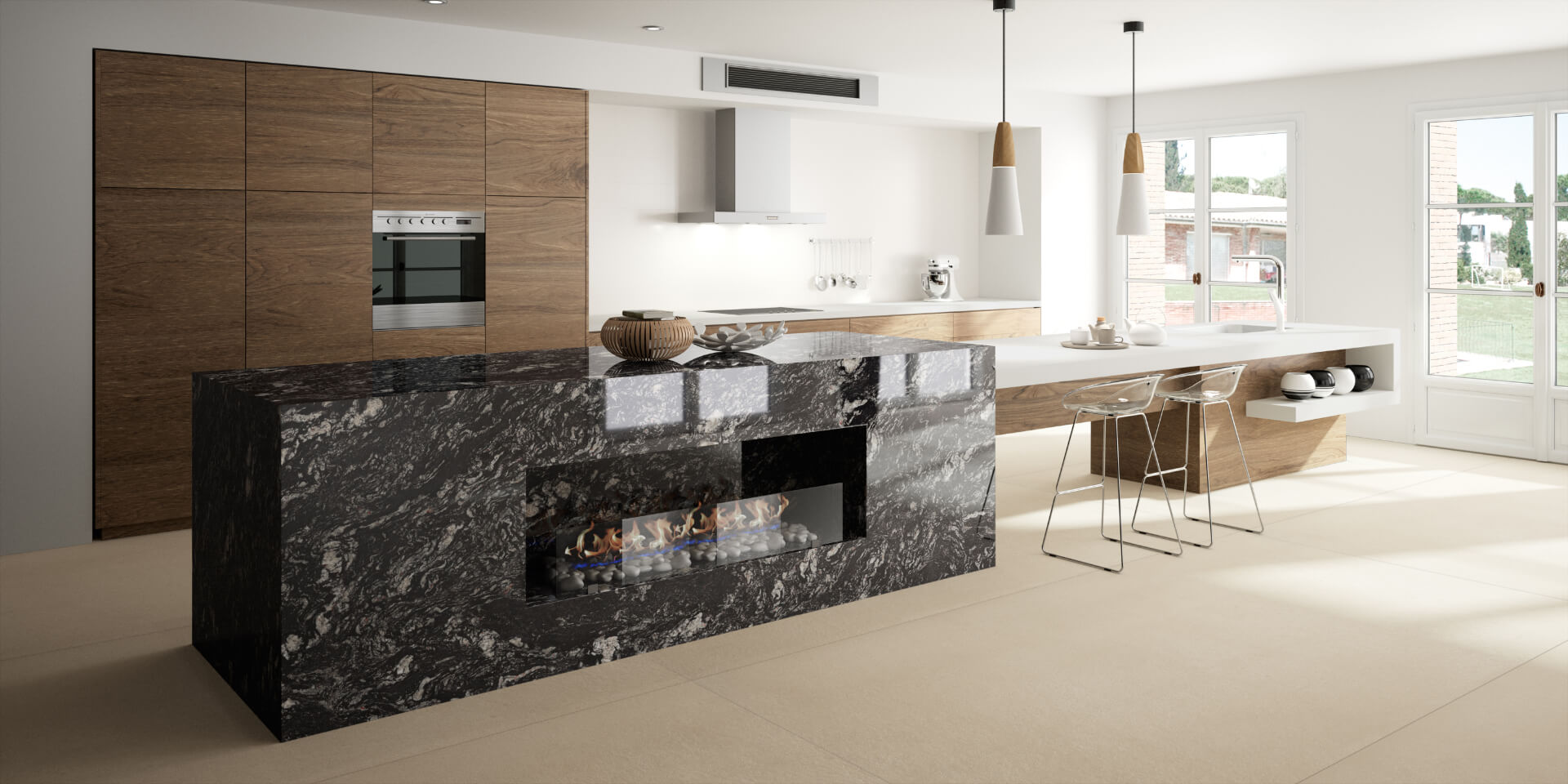 Cosentino Sensa Marble Black Kitchen Island