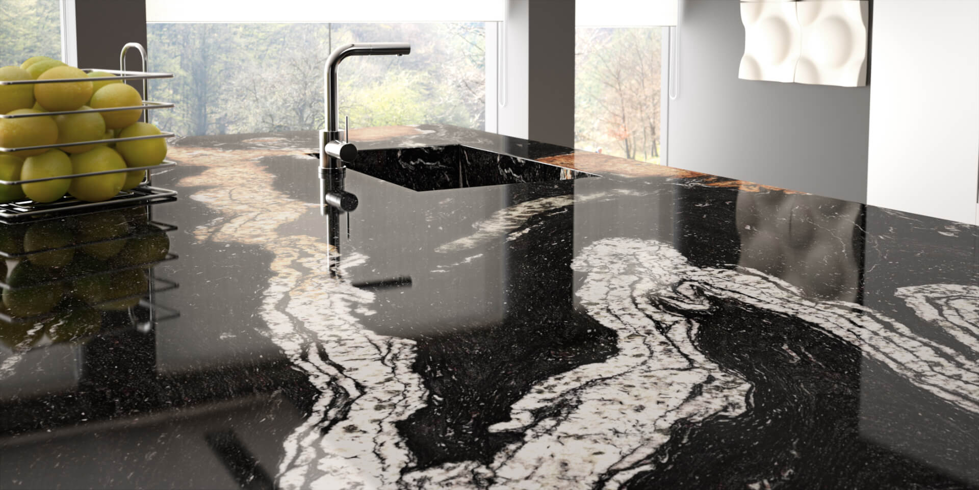 Cosentino Sensa Marble Black Kitchen Worktop