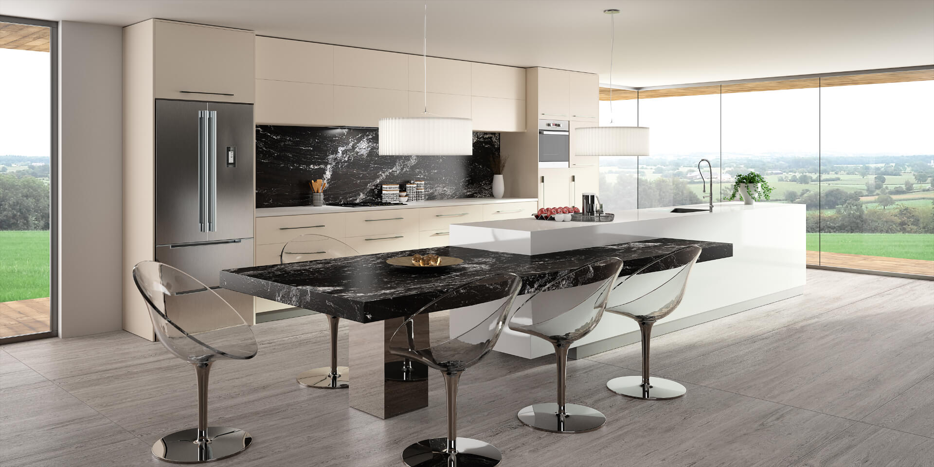 Cosentino Sensa Marble Black Kitchen Table