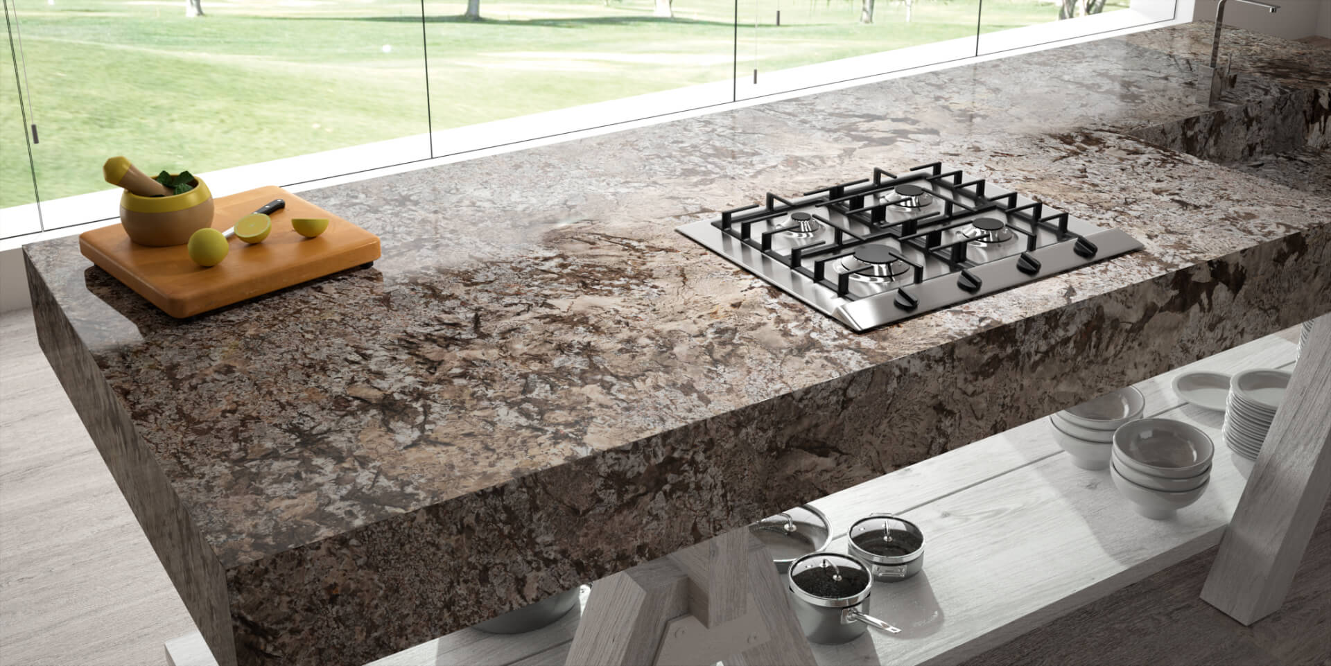 Cosentino Sensa Marble Brown Kitchen Table