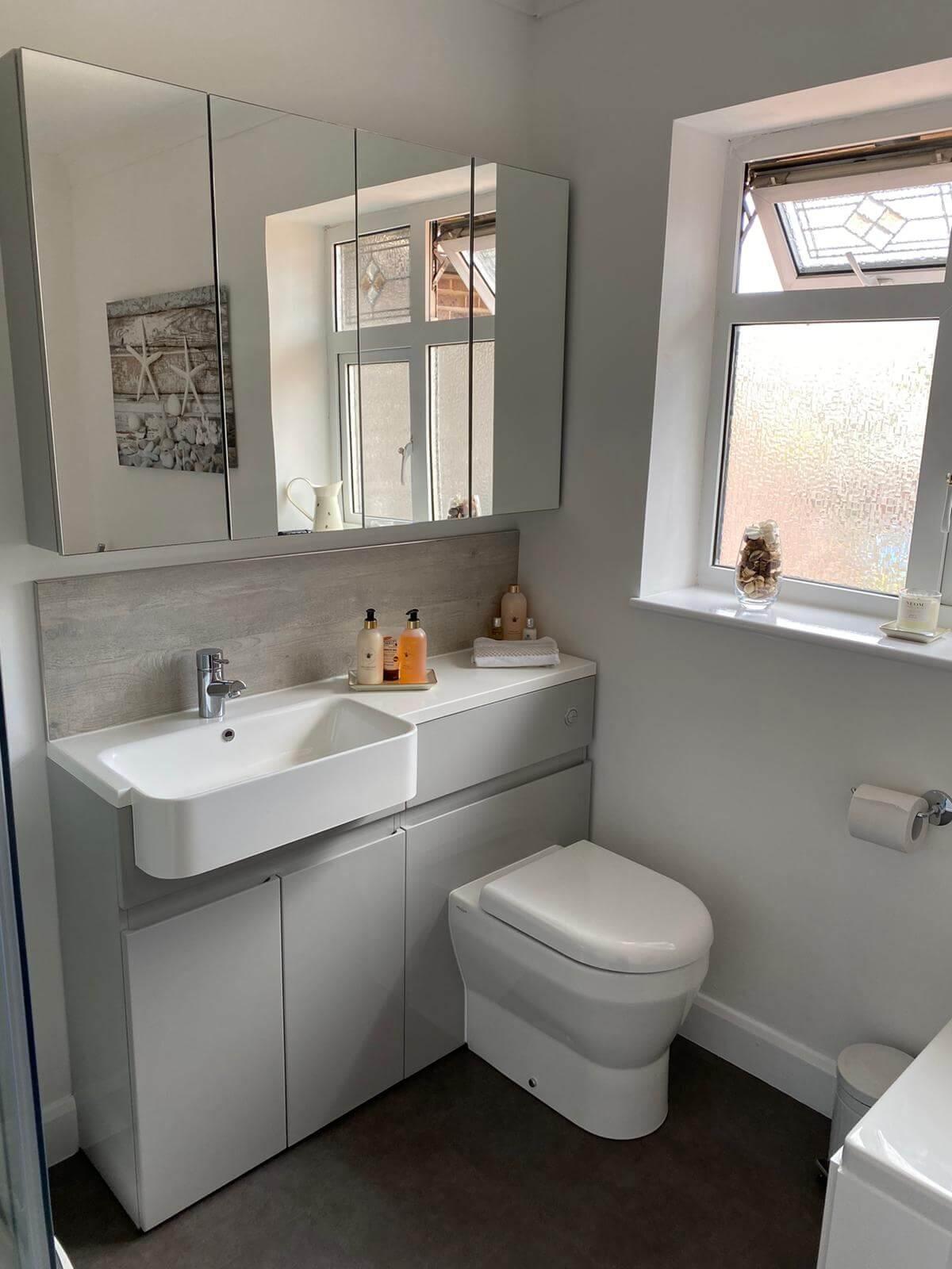 New Modern Grey White Bathroom