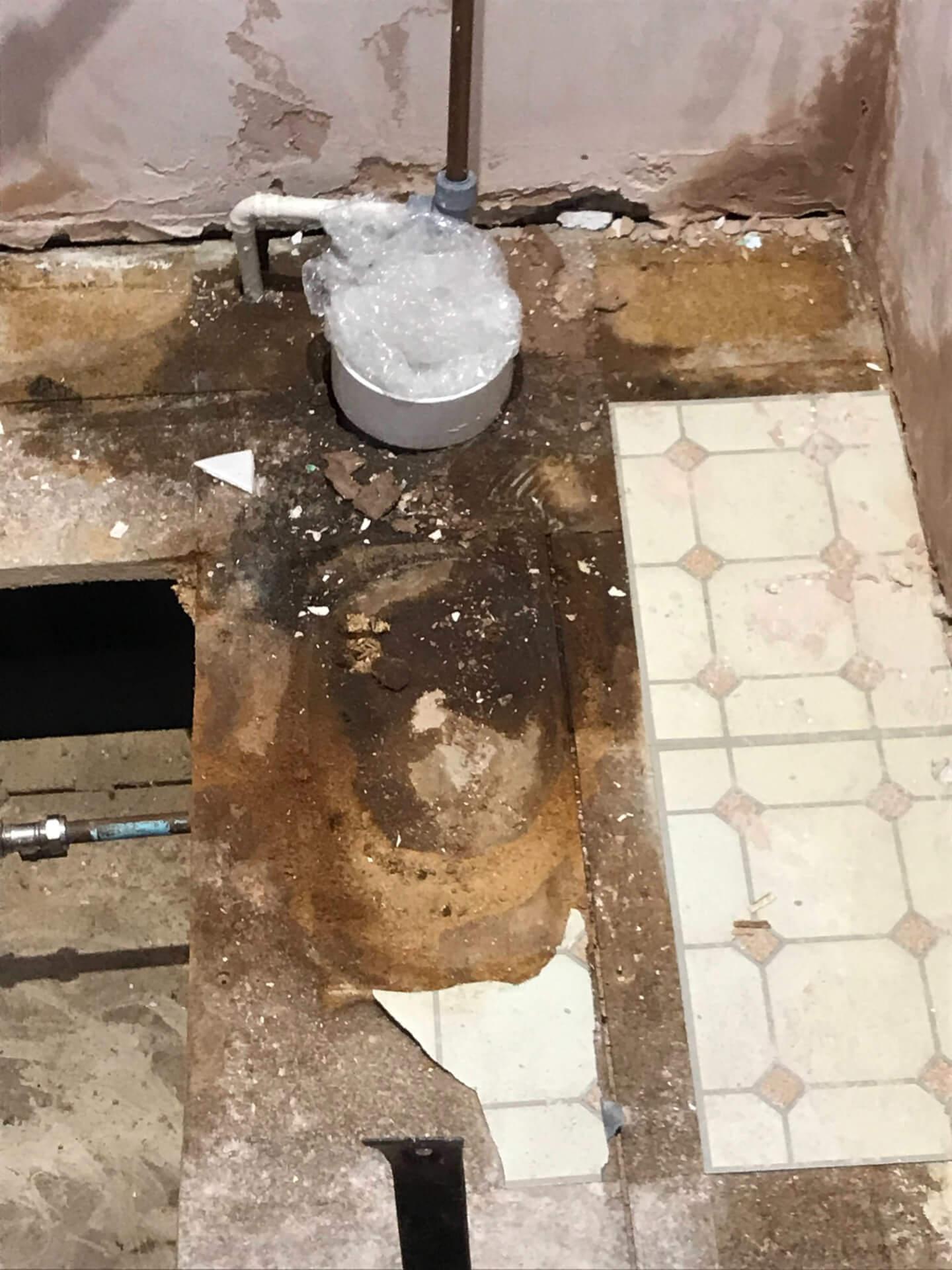 Old Bathroom Floor Repairing