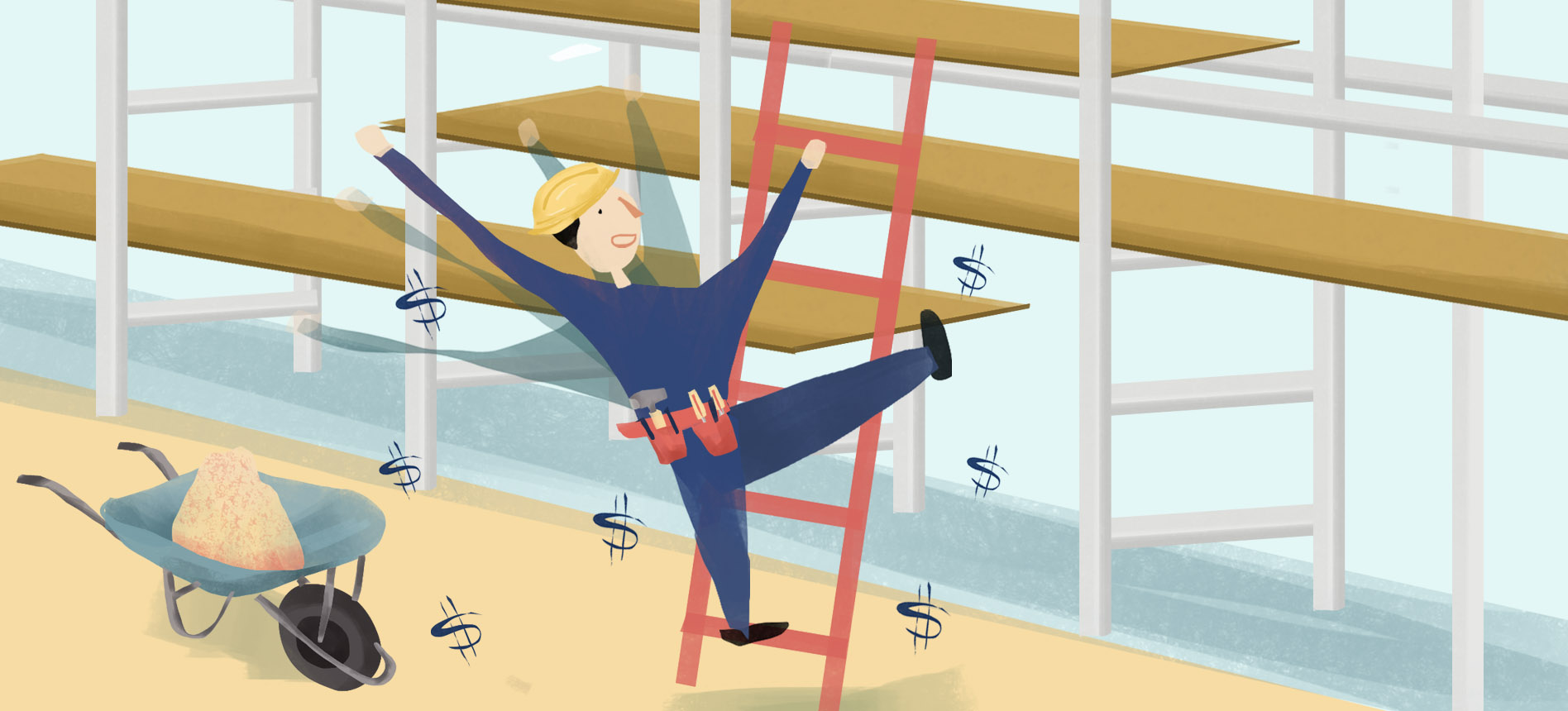 An illustration of a worker falling from a ladder